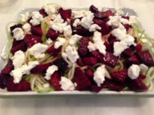 Zucchini Pasta with beets and goat cheese.