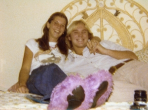 Dave and me as teenagers.  Love my slippers!