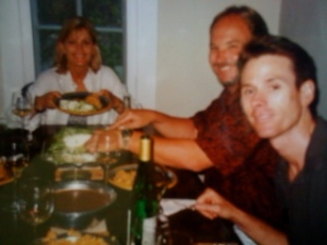 Dave, his wife and his best friend enjoying Reme's enchiladas at my house in the 1990's.